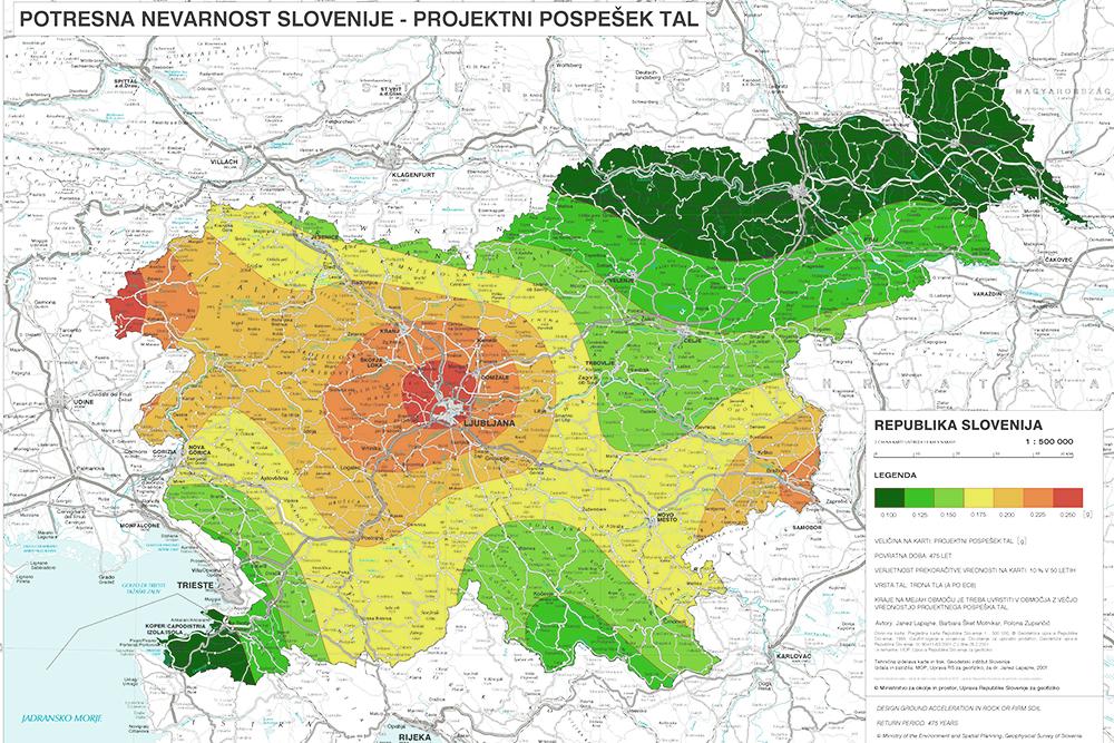 Potresna karta Slovenije, vir: Arso